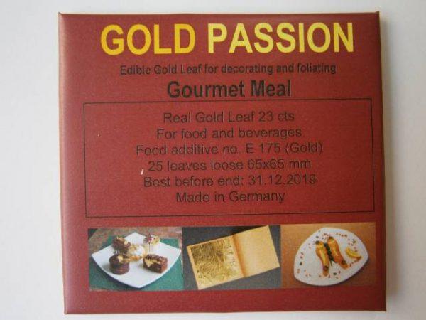 Jedlé plátkové zlato 23 karátové, 25 plátkov,65 x 65 mm